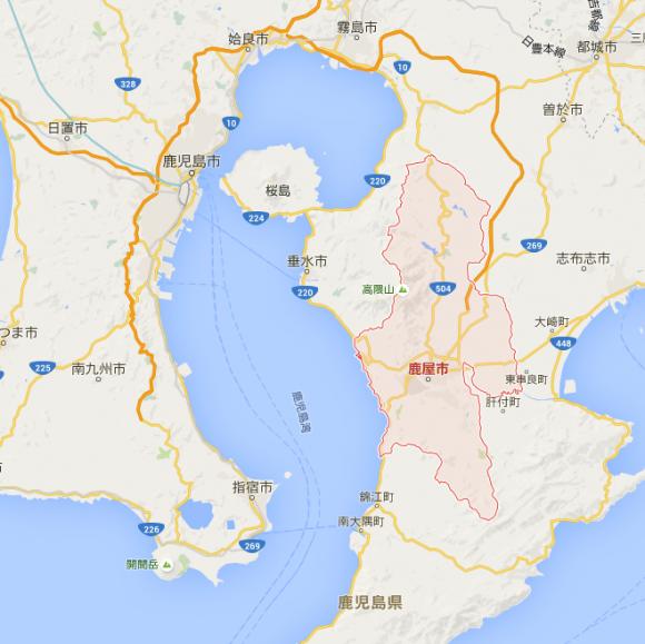 赤枠が鹿屋市。海に面した地域から内陸まで幅広い地域となっています。