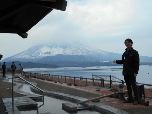 道の駅たるみず湯っ足り館から望む桜島をご案内いただきました