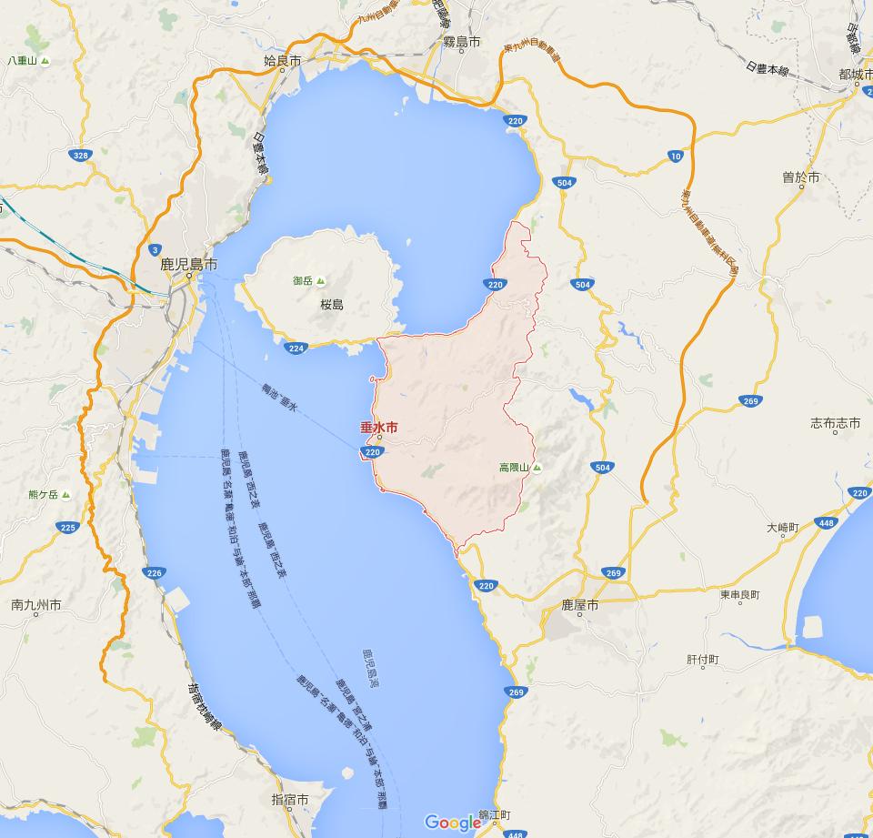 赤枠が垂水市。桜島と接しています。
